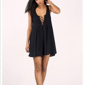 NWT TOBI Sexy Black Shift Dress, Medium, low back